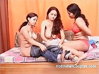 Three ugly indian teens showing off