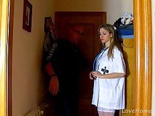 Pretty Blonde Angels Plays Nurse, Gets Drilled
