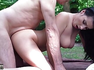 Grandpa has sex with beautiful young babe plays with her asshole and fucks her hard
