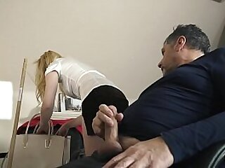 Teenie swallows cum from grandpa after she rides his old cock