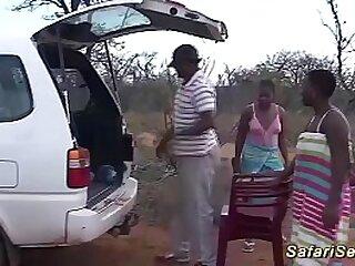 wild outdoor african fuck party