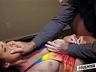 Two Young Cute Horny Teen Daughters Izzy Lush & Scarlett Mae Get Fucked By Each Other's Fathers After They Punish Them For Grand Theft Auto Part 2