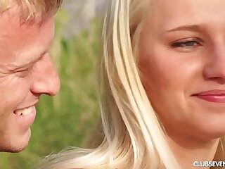 Amazing blonde teen Sara fucking outdoors